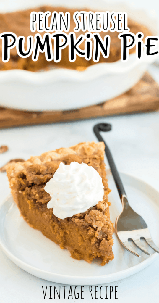 one slice of pecan pumpkin pie with whipped cream