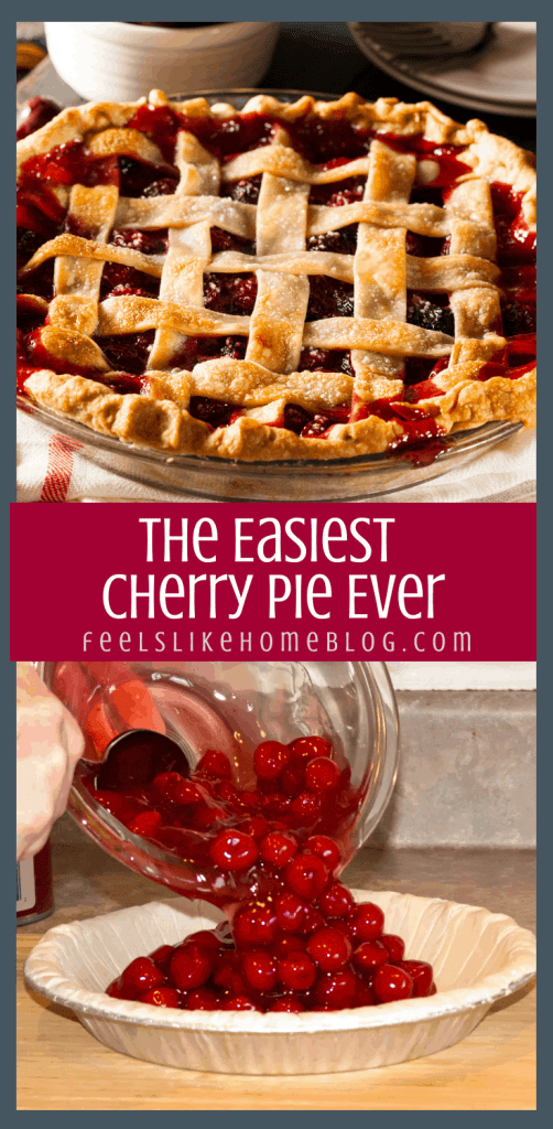 a collage of cherry pie and easy pie filling