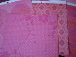 A close up of the template traced on scrapbook paper