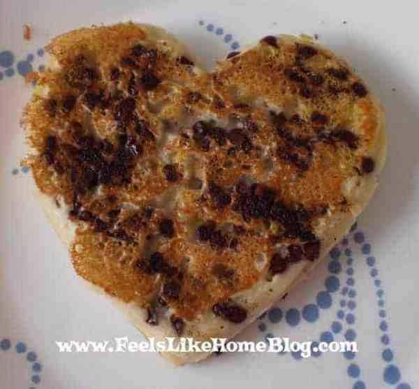 A chocolate chip heart shaped pancake