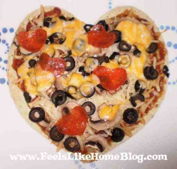 A heart-shaped tortilla pizza