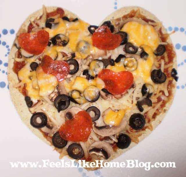 A heart-shaped tortilla pizza