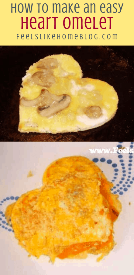 collage of heart omelets cooked and cooking