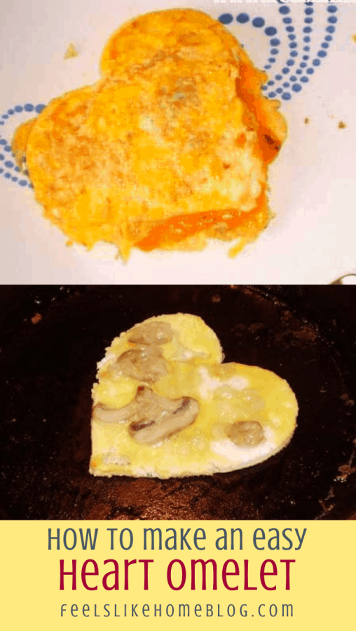 cooked and cooking heart omelets