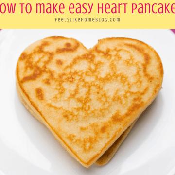a heart shaped pancake on a white plate