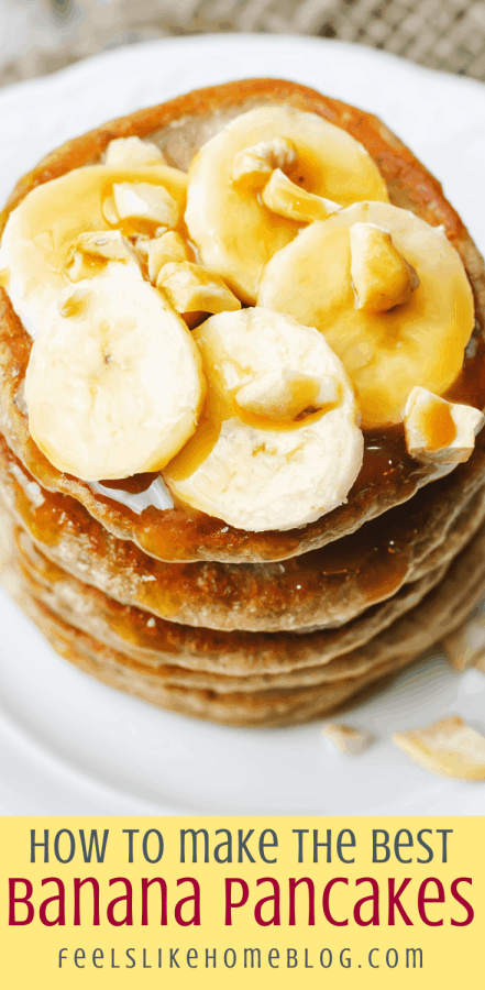 a stack of banana pancakes with walnuts on a white plate