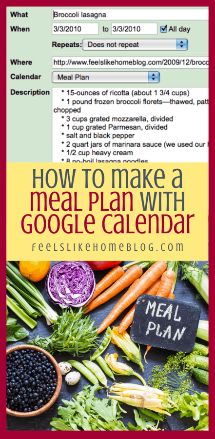 a collage of google calendar and many different kinds of food with a meal plan
