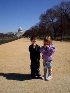 Young children enjoying a snack on the National Mall