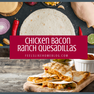 A bunch of food sitting on a table, with Chicken and Quesadilla