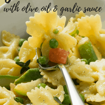 A close up of garden pasta on a fork