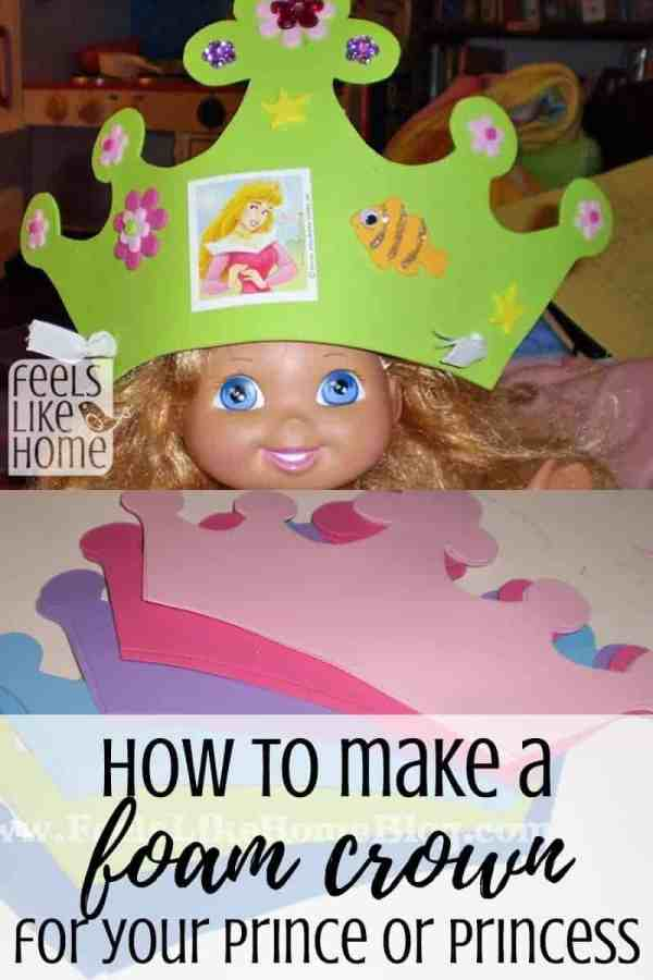 How to make a simple and easy DIY homemade foam crown for boys or girls - These can easily be king, queen, prince or princess crowns made by toddlers, preschoolers, or older kids. Perfect for birthday parties. Perfect fun craft for kids.