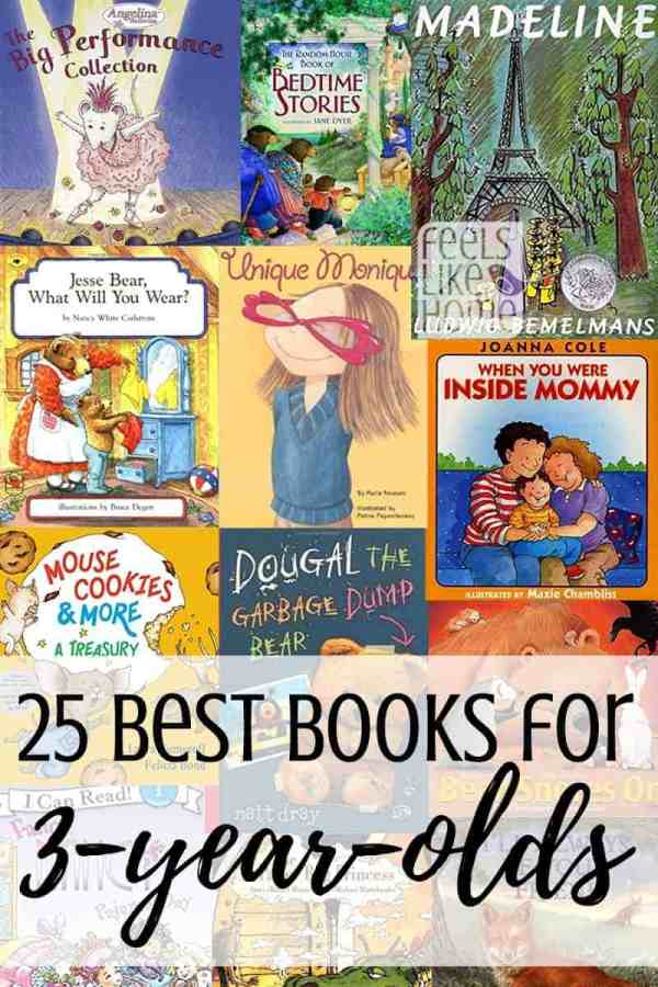 A collage of the best books for 2 and 3 year olds