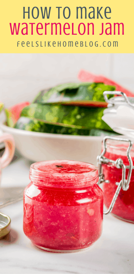 homemade watermelon jam in a jar