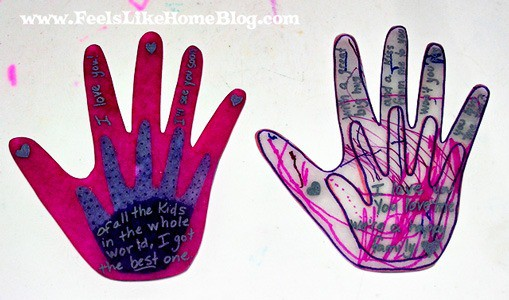 Shrinky Dink hands from the Kissing Hand book to help kids with separation anxiety when they have to be away from mom or dad. Simple and easy idea and craft to help children deal with anxieties.
