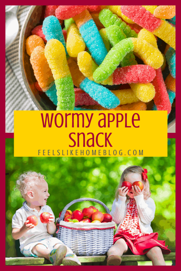 A collage of gummi worms and apples