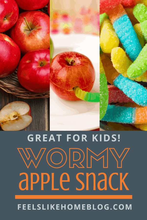 A collage of apples and gummi worms