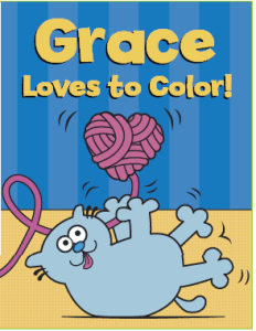 A close up of a personalized coloring book