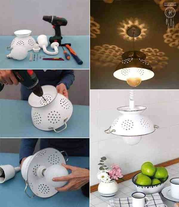 collage of pictures showing how to make a pendant lamp out of a metal colandar