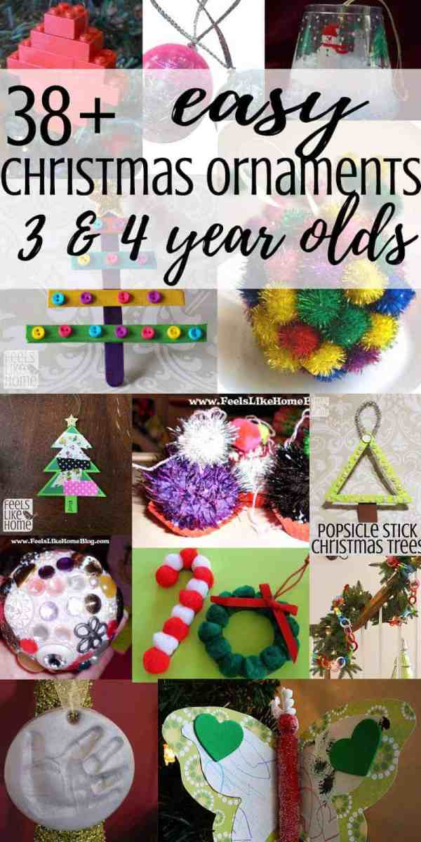 38+ easy DIY Christmas tree ornaments that 3 and 4 year olds & preschoolers can make - These homemade crafts include everything from pictures to paint to popsicle sticks to pipe cleaners to beads and, of course, glitter. They are a fun way to celebrate Xmas with your kids, and they will make adorable decorations on your tree or great gifts for the grandparents!
