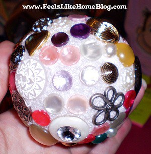 Christmas ornament covered with buttons