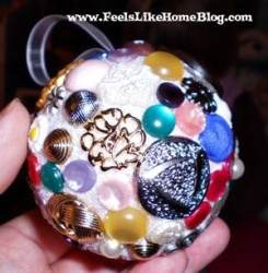 button covered Christmas ornament
