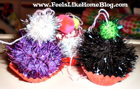 pom pom cupcake ornaments