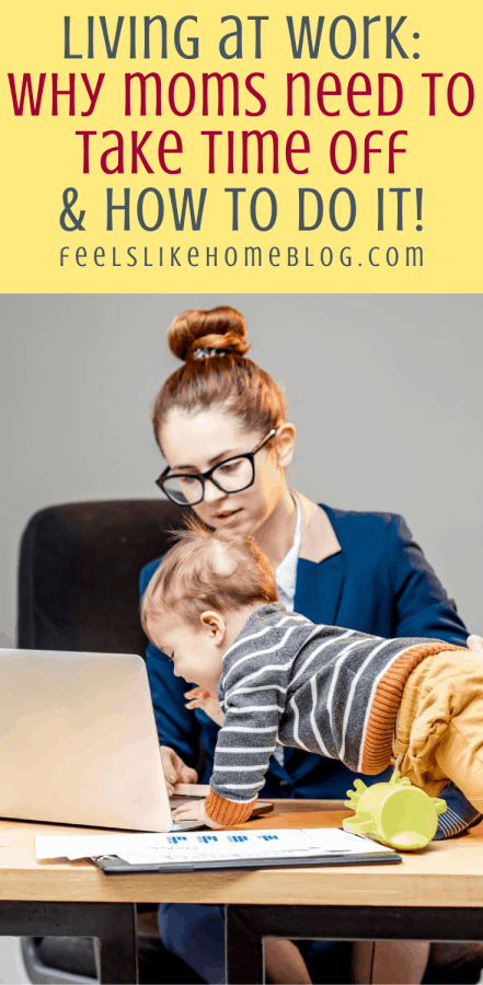 a mom trying to work with a baby crawling on the desk