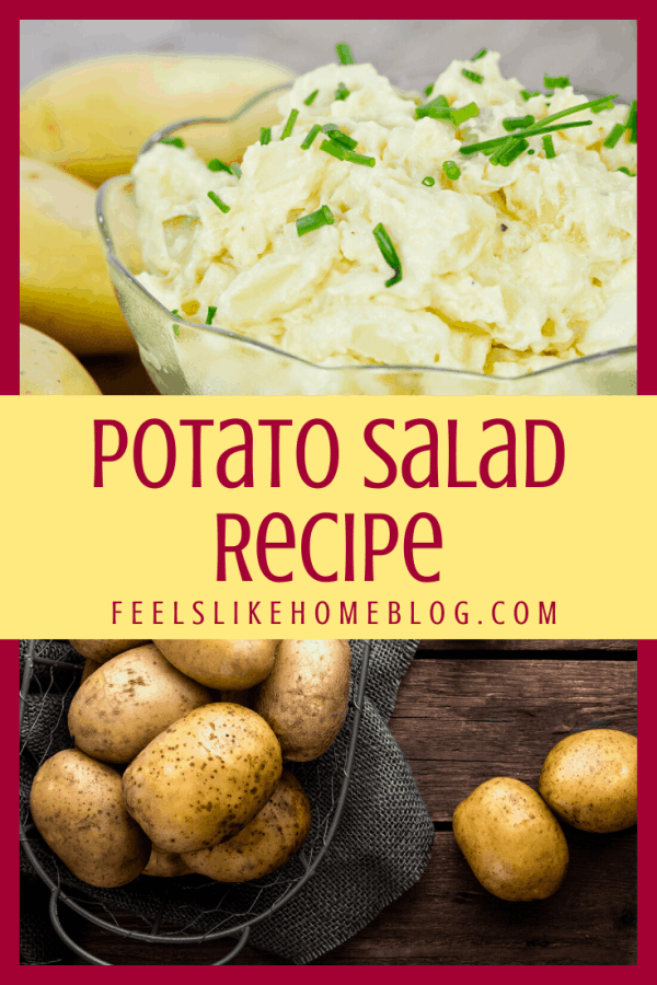A close up of homemade potato salad with whole potatoes
