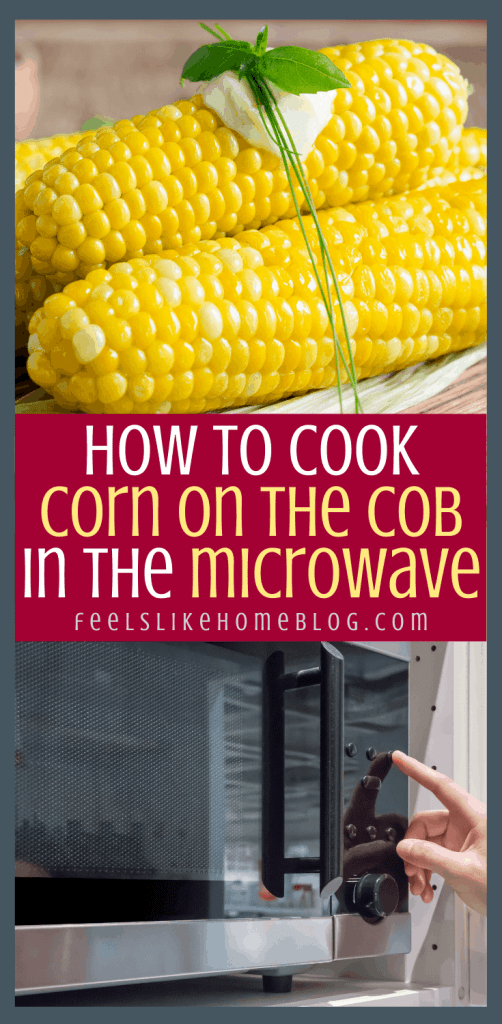 a microwave and a stack of corn on the cob