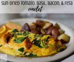 sun dried tomato, bacon, and feta omelet