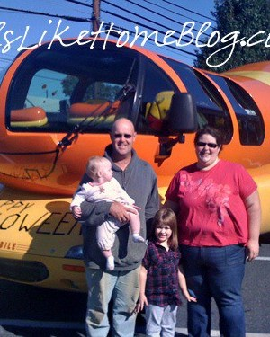 my family in front of the Oscar Mayer Wienermobile