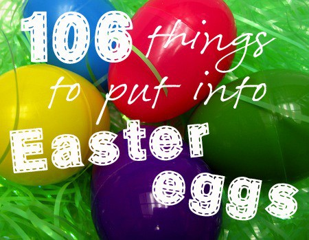 What to put in plastic Easter eggs for kids - Includes fun ideas from candy for small eggs to trinkets and cool toys that can fit into the larger sized eggs. Ideas for all children from the very young to teens. Could also use some ideas for things to put in baskets.