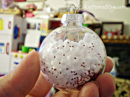 Making Styrofoam-filled Christmas Ornaments with a Preschooler