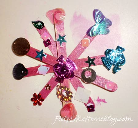 Sequins glued onto the snowflake