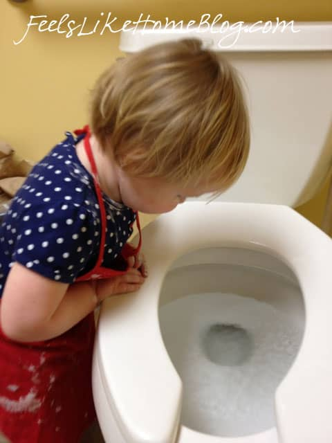 A baby looking into the toilet