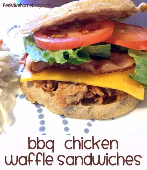 The best simple and easy chicken and waffles recipe - BBQ Chicken Waffle Sandwiches. This healthy homemade sandwich recipe uses BBQ sauce to make spicy sliders. Boneless skinless chicken can be made in the Crock Pot or on the stove. Savory dish is great for breakfast, brunch, lunch, or dinner.