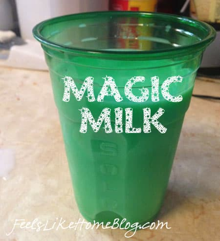 Magic Milk for St. Patrick's Day - This one little trick will amaze your kids! This idea can be used with any drinks, but we like it best in milk.