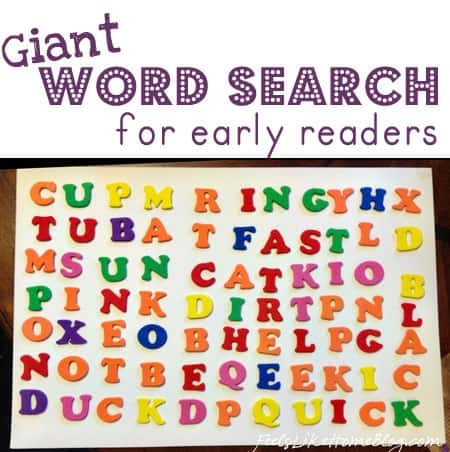 Giant word search made of letter stickers