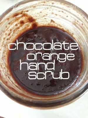 chocolate orange hand scrub in a mason jar