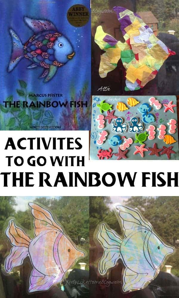 A collage of pictures of crafts based on the book Rainbow Fish