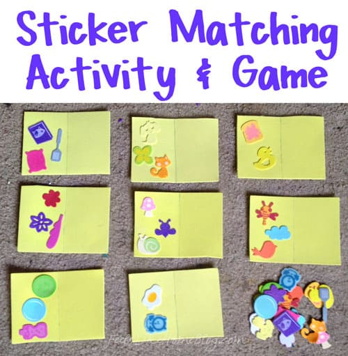 Sticker Matching Game for Toddlers & Preschoolers - These simple DIY activities are easy to make with stickers and fun for kids to play. Children are learning matching and fine motor skills as they try to get their stickers in the same pattern as the original. Homemade quiet book toys. Could be made with dollar store materials by parents or teachers. Great for boys and girls.
