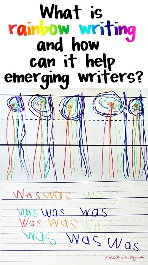 This simple rainbow writing activity can be used for emerging writers and spellers in preschool, kindergarten, first or second grade or even higher. It is simple and easy for sight words practice or even handwriting and letters of the alphabet practice. Can be used to learn how to spell their name or for spelling words. Kids love learning this way in the classroom or in homeschooling.
