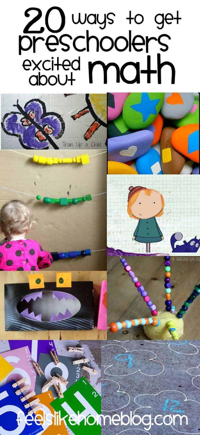 Collage of preschool math photos
