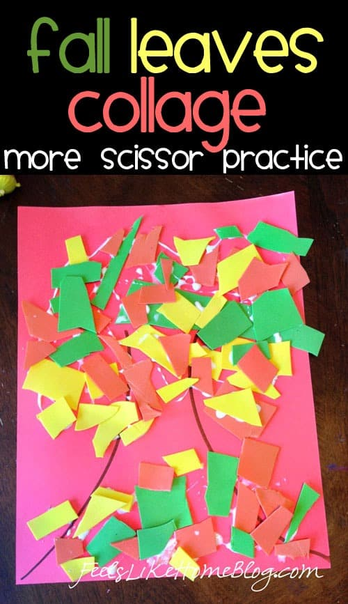 Fall Leaves Collage - Scissor Practice Activity for toddlers, preschoolers, and kindergarten. Great free cutting activity for at home or in the classroom. Help children to work on fine motor skills with this fun, creative autumn tree craft for kids. Great for 2, 3, and 4 year olds.