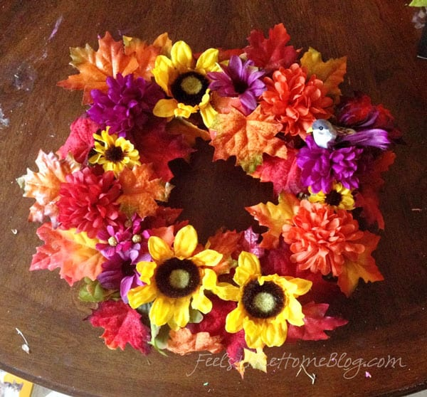 Kids Fall Leaf Wreath Craft - Finished Wreath