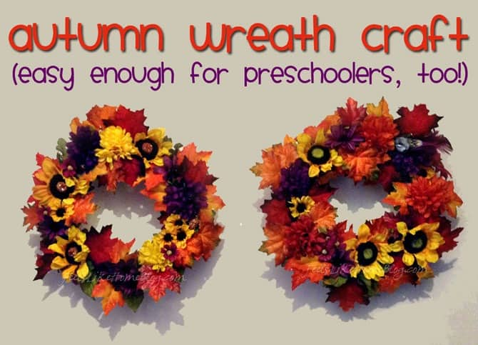 How to make an Autumn Wreath Craft for Kids - simple and easy enough for preschool or kindergarten to do with help. Very creative with flowers, leaves, and acorns. Easy DIY with sunflowers would look lovely on the wall or on the front door. Great decoration for Thanksgiving.