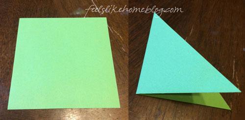Fold the square in half twice