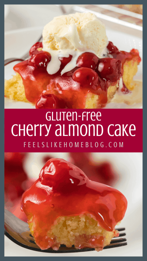 A close up of cherry almond cake on a fork and on a plate