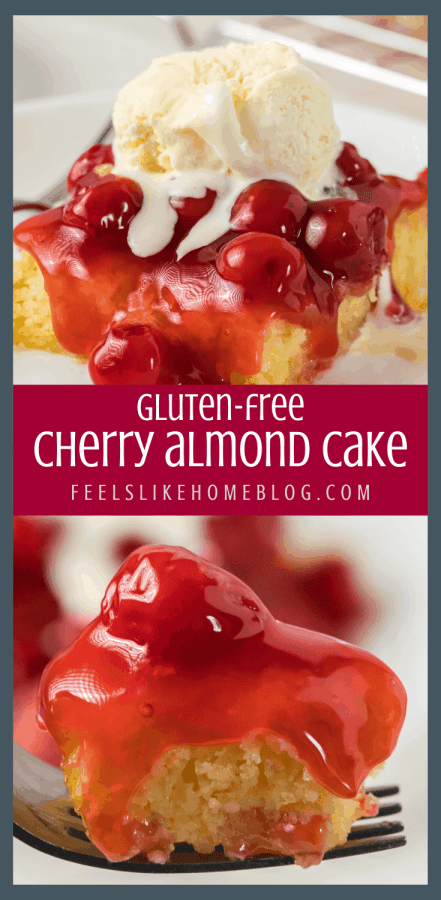 A close up of cherry almond cake on a fork