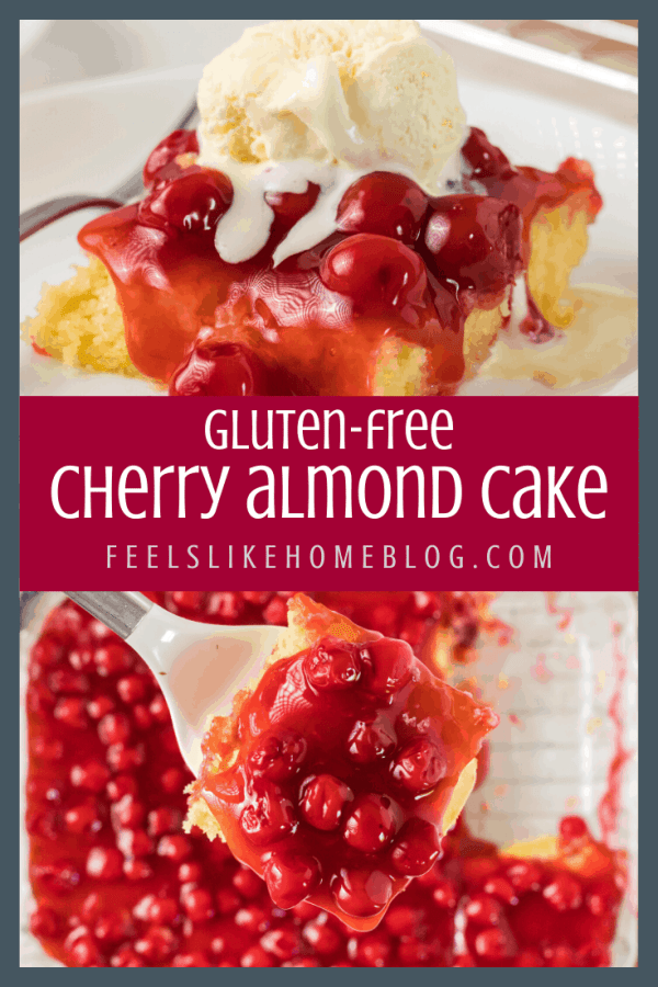 A collage of close ups of gluten-free cherry almond cake